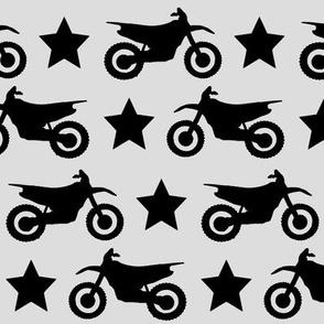 Dirt Bike and Star Black on Grey