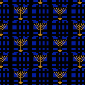 Menorah plaid blue and black