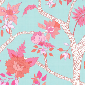 Peony Branch Mural- Pink and Orange on Aqua