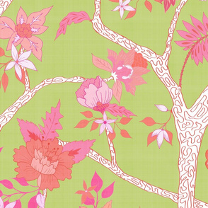 Peony Branch Mural- Pink & Orange on Citron