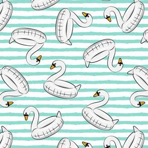 swan pool float - aqua stripes