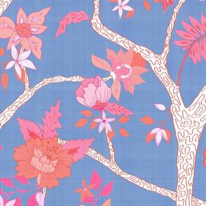 Peony Branch Mural- Pink and Orange on Cornflower