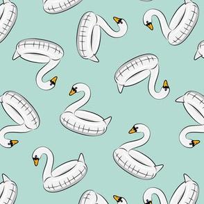 swan pool float - dark mint