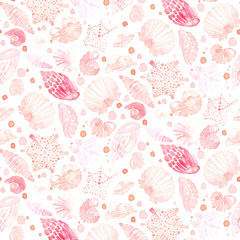 Nautical Watercolor Seashell Sea  Shell  Blush On White  || Pastel  Pink Peach Coral Orange Yellow Ocean Beach Baby Girl _ Miss Chiff Designs fabric by misschiffdesigns on Spoonflower - custom fabric