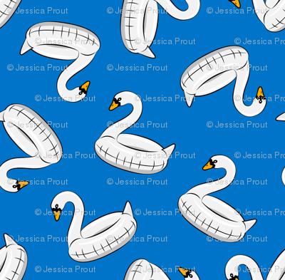 swan pool float - blue