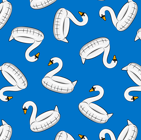 swan pool float - blue  fabric by littlearrowdesign on Spoonflower - custom fabric