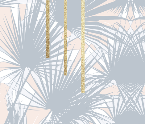 Tropical Art Deco 1.2a Grey, Nude, Gold fabric by dominique_vari on Spoonflower - custom fabric