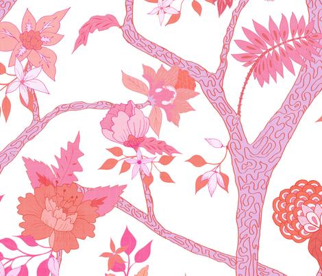 Peony Branch Mural- Pinks and Oranges fabric by danika_herrick on Spoonflower - custom fabric