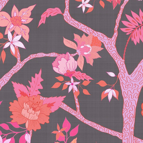 Peony Branch Mural- charcoal with pink/orange