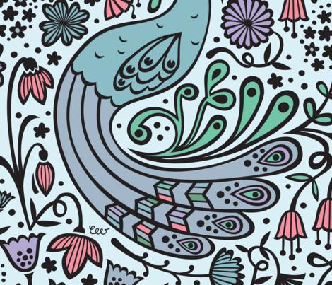 Sleeping Peacock Window fabric by christinewitte on Spoonflower - custom fabric