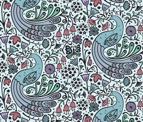 Sleeping Peacock Window fabric by studio_amelie on Spoonflower - custom fabric