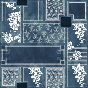 Art deco floral in blues