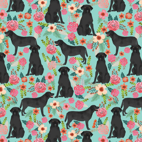 black lab florals fabric labrador retriever floral fabric - LARGE