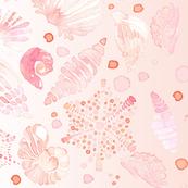 Watercolor Border Seashell Nautical Sea  Shell   || Pastel  Blush Pink Peach Coral Orange White Yellow Ocean Beach Baby Girl _ Miss Chiff Designs