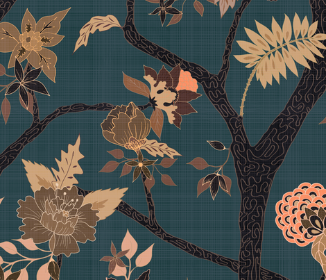 Peony Branch Mural-black, brown and blue fabric by danika_herrick on Spoonflower - custom fabric