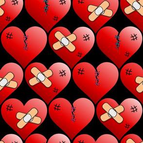 Healed broken hearts on black