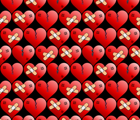 Mended broken hearts on black fabric by b0rwear on Spoonflower - custom fabric