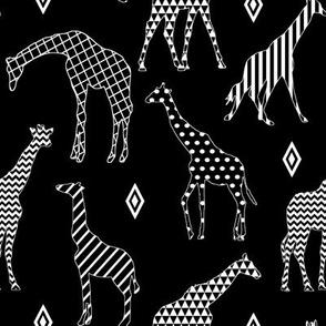Patterned Giraffes on Black // Large