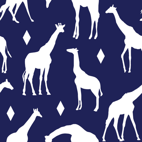 Giraffes on Deep Blue // Large fabric by thinlinetextiles on Spoonflower - custom fabric