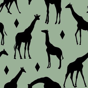 Giraffes on Oasis Green // Large