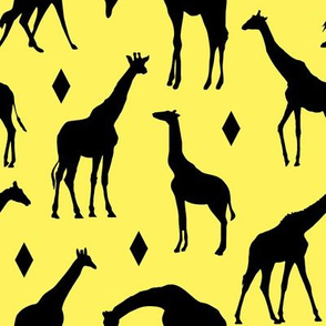 Giraffes on Sunrise Yellow // Large