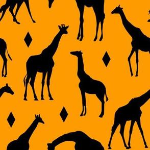 Giraffes on Orange // Large