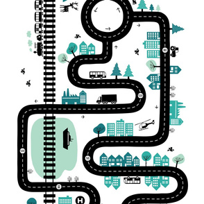 Road map 42'' (half size) mint/turquoise