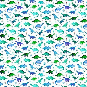Custom Scale Extra Tiny Dinos in Blue and Green on White