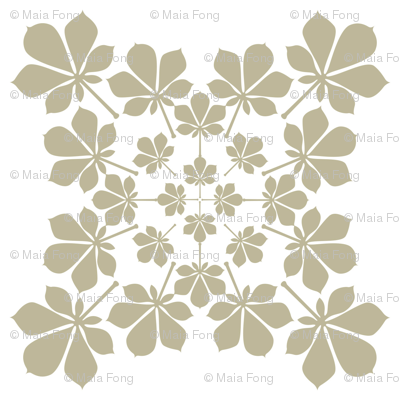 growing leaf pattern in beige and white
