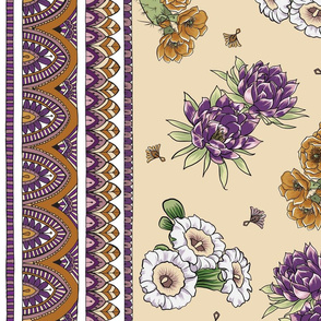 Bohemian Desert Blooms and Cactus - Purple and Caramel