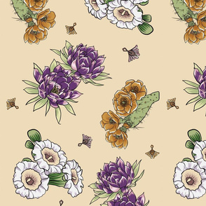 Bohemian Desert Blooms and Cactus - Purple and Caramel flowers