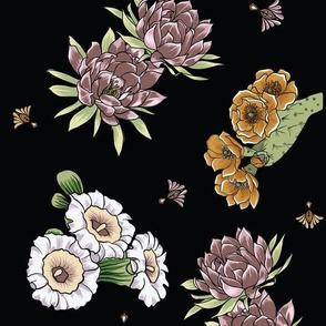 Bohemian Desert Blooms - Black and Rose - flowers