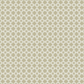 Overlapping circles in white and beige