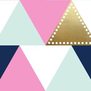 Triangle Wholecloth Gold Pink Aqua Navy