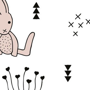 Large Adorable little baby bunny geometric scandinavian style rabbit for kids gender neutral black and white bedding wallpaper