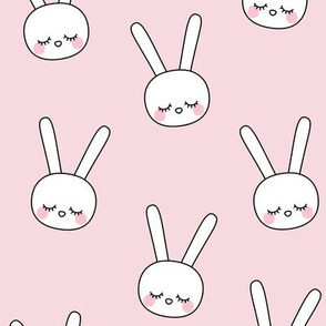 sleepy eyes bunny rabbit large pink