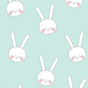 sleepy eyes bunny rabbit grey large blue