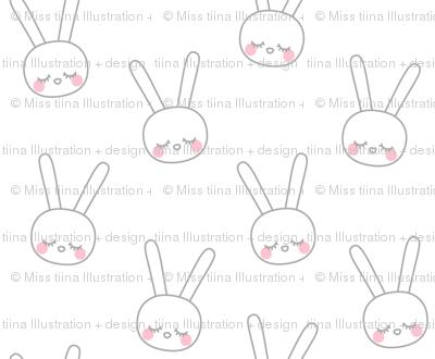 sleepy eyes bunny rabbit grey small