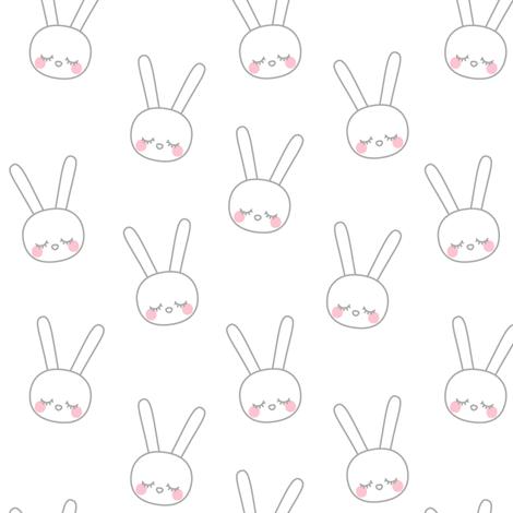 sleepy eyes bunny rabbit grey small fabric by misstiina on Spoonflower - custom fabric