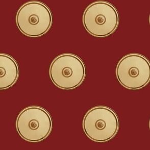 Gold & Red  Bullseye Compact Fabric Red