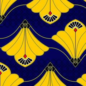 Budding Yellow Flowers in dark blue background