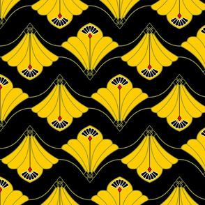 Budding Yellow Flowers on black background