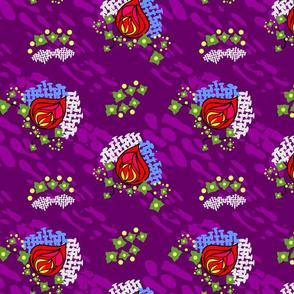 Rose in purple snow mash-up