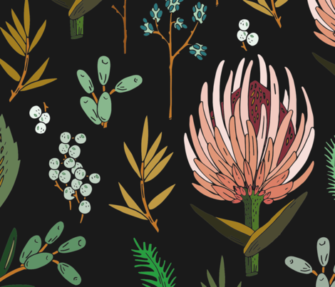 floral_study_dark extra large fabric by holli_zollinger on Spoonflower - custom fabric