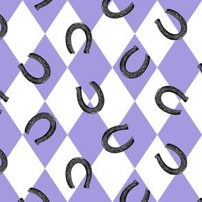 vintage lucky horseshoes on purple racing diamonds