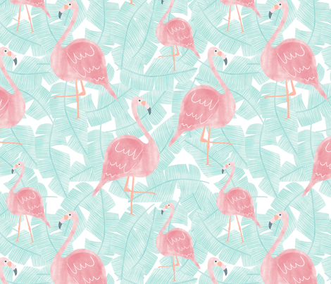 Flamingos - Large Scale fabric by melarmstrongdesign on Spoonflower - custom fabric