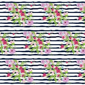 purple passion bouquet navy ribbon stripes - MED 754