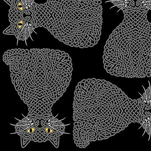 Knotty Cat - grey on black, big