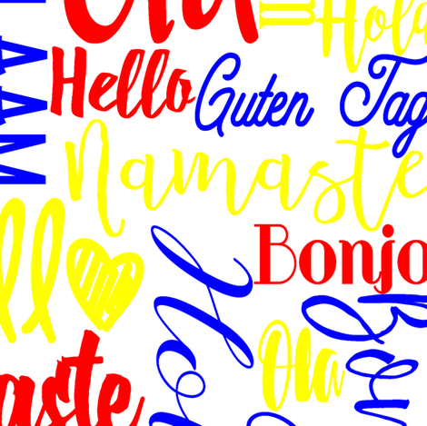 """Hello Multi Language Primary Colors 12"""" fabric by greenmountainfabric on Spoonflower - custom fabric"""