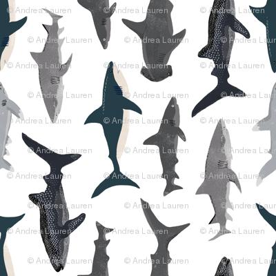 shark // sharks nautical boys white background kids ocean sea tiger shark hammerhead shark fabric - railroad
